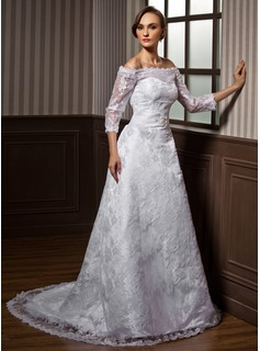 A-Line/Princess Off-the-Shoulder Court Train Satin Lace Wedding Dress With Beading (002000115)