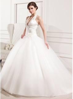 Ball-Gown Halter Chapel Train Tulle Wedding Dress With Embroidered Ruffle Flower(s) (002012183)