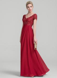 A-Linie/Princess-Linie V-Ausschnitt Bodenlang Chiffon Spitze Kleid für die Brautmutter mit Rüschen Perlstickerei (008114230)