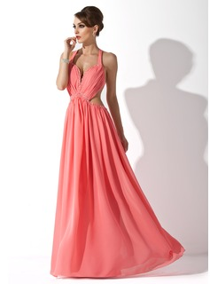 A-Line/Princess Halter Floor-Length Chiffon Holiday Dress With Ruffle Beading (020025951)