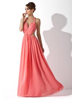 A-Linie/Princess-Linie Träger Bodenlang Chiffon Festliche Kleid mit Rüschen Perlen verziert (020025951)
