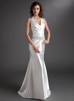 A-Linie/Princess-Linie Träger Sweep/Pinsel zug Charmeuse Kleid für die Brautmutter mit Rüschen Perlen verziert (008016744)