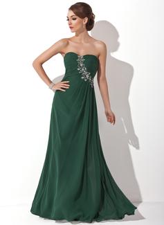 A-Linie/Princess-Linie Herzausschnitt Bodenlang Chiffon Festliche Kleid mit Rüschen Perlen verziert (020025946)