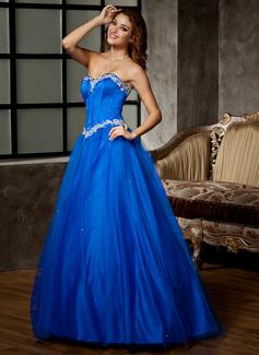 Duchesse-Linie Schatz Bodenlang Tüll Quinceañera Kleid (Kleid für die Geburtstagsfeier) mit Perlstickerei Applikationen Spitze Pailletten (021020808)