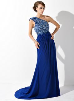 A-Linie/Princess-Linie Eine Schulter Hof-schleppe Chiffon Kleid für die Brautmutter mit Rüschen Spitze Perlstickerei Pailletten (008006081)