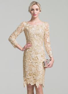 Etui-Linie U-Ausschnitt Knielang Spitze Kleid für die Brautmutter (008091944)