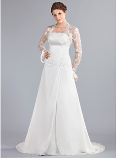 A-Line/Princess Strapless Court Train Chiffon Wedding Dress With Ruffle Lace Beadwork (002000042)