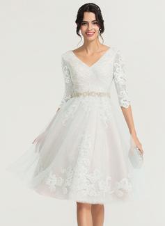 Vestidos Princesa/ Formato A Decote V Coquetel Tule Vestido de cocktail com Beading (016170876)