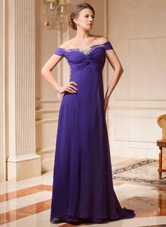 A-Linie/Princess-Linie Off-the-Schulter Sweep/Pinsel zug Chiffon Kleid für die Brautmutter mit Rüschen Perlstickerei (008024461)