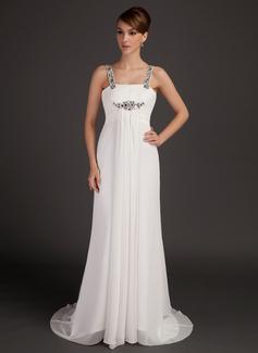 Empire-Linie U-Ausschnitt Watteau-falte Chiffon Kleid für die Brautmutter mit Rüschen Perlen verziert (008015505)