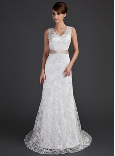 A-Line/Princess V-neck Court Train Charmeuse Lace Wedding Dress With Sash Beadwork (002000171)