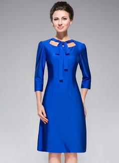 Trompete/Meerjungfrau-Linie U-Ausschnitt Knielang Jersey Kleid für die Brautmutter mit Schleife(n) (008042833)