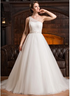 Corte de baile Un sólo hombro Cola corte Satén Tul Vestido de novia con Volantes Bordado Lentejuelas (002056224)