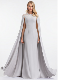 Sheath/Column Scoop Neck Floor-Length Stretch Crepe Evening Dress (017198668)