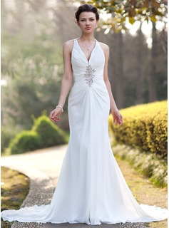 Trumpet/Mermaid V-neck Chapel Train Chiffon Wedding Dress With Ruffle Beading Sequins (002005012)