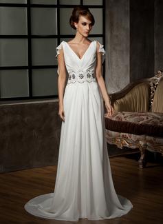 Forme Princesse Col V Traîne courte Mousseline Robe de mariée avec Plissé Emperler Motifs appliqués (002011526)