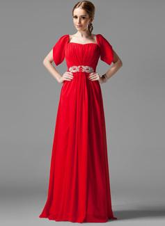 A-Linie/Princess-Linie Rechteckiger Ausschnitt Bodenlang Chiffon Festliche Kleid mit Rüschen Perlstickerei Pailletten (020039558)