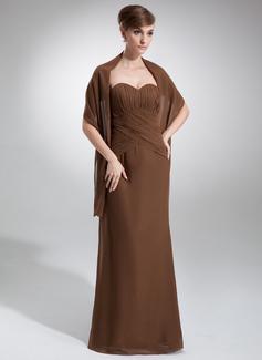 Vestido tubo Escote corazón Hasta el suelo Chifón Dama de honor con Volantes (007000989)