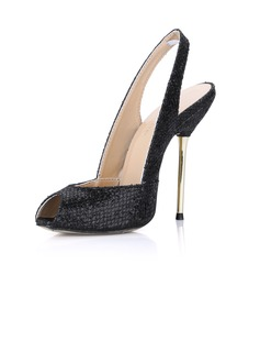 Sparkling Glitter Stiletto Heel Sandals Peep Toe Slingbacks shoes (087022623)