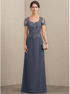 A-Line Sweetheart Floor-Length Chiffon Lace Evening Dress With Beading Sequins (017192572)