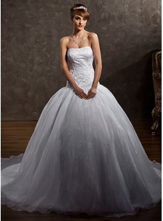 Ball-Gown Sweetheart Chapel Train Organza Satin Wedding Dress With Embroidered Beading (002012106)