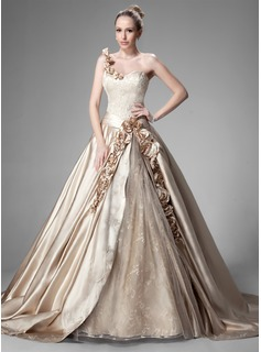 Ball-Gown One-Shoulder Chapel Train Satin Wedding Dress With Ruffle Beading Flower(s) (002004515)