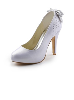 Women's Satin Cone Heel Closed Toe Platform Pumps With Bowknot Rhinestone (047005394)