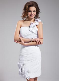 Etui-Linie One-Shoulder-Träger Knielang Chiffon Cocktailkleid mit Rüschen Perlen verziert Applikationen Spitze Blumen (016025928)