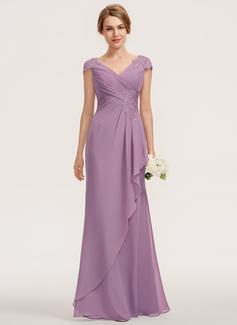 A-Line V-neck Floor-Length Chiffon Lace Bridesmaid Dress With Cascading Ruffles (007190695)