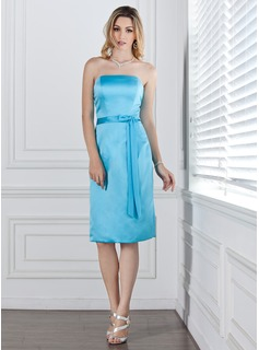 Sheath/Column Strapless Knee-Length Satin Bridesmaid Dress With Sash (007001797)