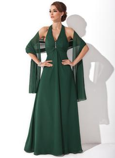 A-Linie/Princess-Linie Träger Bodenlang Chiffon Kleid für die Brautmutter mit Perlen verziert (008021130)