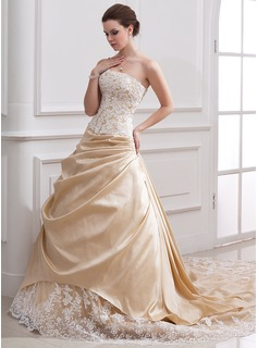 A-Line/Princess Strapless Cathedral Train Taffeta Tulle Wedding Dress With Ruffle Lace Beading (002000380)