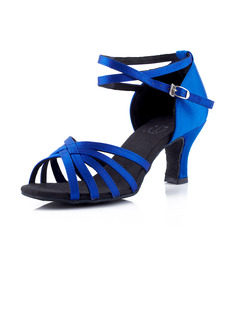 Women's Satin Heels Sandals Latin With Ankle Strap Dance Shoes (053041583)