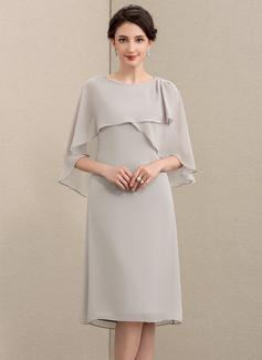 A-Linie U-Ausschnitt Knielang Chiffon Kleid für die Brautmutter (008195369)