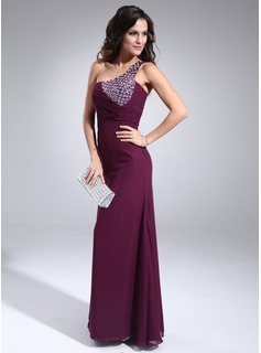 Formal Dresses Sydney Sheath One-Shoulder Floor-Length Chiffon Evening Dress With Ruffle Beading (017002590)