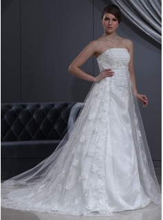 Empire Strapless Chapel Train Tulle Charmeuse Lace Wedding Dress With Beading (002000267)