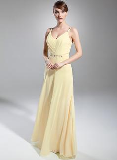 A-Linie/Princess-Linie V-Ausschnitt Bodenlang Chiffon Abendkleid mit Rüschen Perlen verziert (017014746)