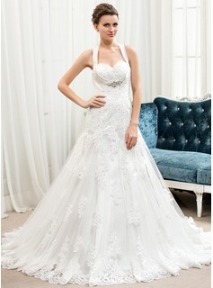 A-Line/Princess Sweetheart Court Train Satin Tulle Lace Wedding Dress With Beading Sequins (002054353)