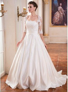 Ball-Gown Square Neckline Sweep Train Satin Wedding Dress With Ruffle Lace Beading Sequins (002055084)