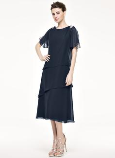 A-Linie/Princess-Linie U-Ausschnitt Wadenlang Chiffon Kleid für die Brautmutter mit Perlstickerei Pailletten Gestufte Rüschen (008062529)