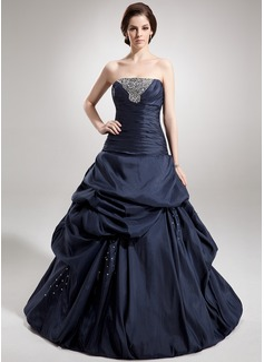 Duchesse-Linie Trägerlos Bodenlang Taft Quinceañera Kleid (Kleid für die Geburtstagsfeier) mit Rüschen Perlen verziert Pailletten (021020888)