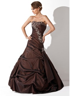 Trompete/Meerjungfrau-Linie Schatz Bodenlang Taft Quinceañera Kleid (Kleid für die Geburtstagsfeier) mit Rüschen Perlstickerei Pailletten (021020646)