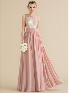 A-Line/Princess One-Shoulder Floor-Length Chiffon Sequined Prom Dresses (018157163)