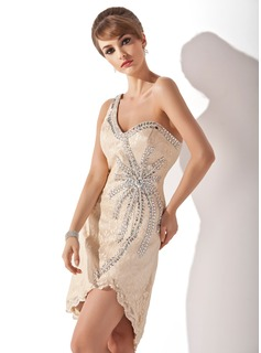 Cheap Cocktail Dresses Sheath One-Shoulder Asymmetrical Lace Cocktail Dress With Beading (016005852)