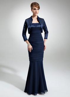 Trompete/Meerjungfrau-Linie Rechteckiger Ausschnitt Bodenlang Chiffon Charmeuse Kleid für die Brautmutter mit Spitze Perlen verziert (008006188)