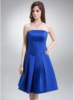 A-Line/Princess Strapless Knee-Length Satin Bridesmaid Dress (007000870)