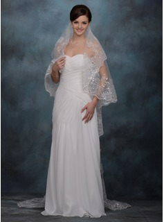 One-tier Chapel Bridal Veils With Finished Edge (006005418)