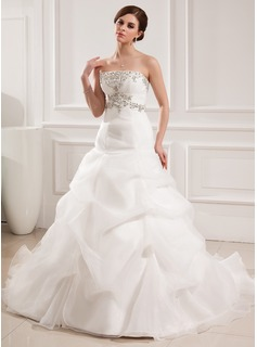 Ball-Gown Sweetheart Chapel Train Organza Satin Wedding Dress With Embroidered Ruffle Beading (002008182)
