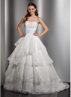 Ball-Gown Sweetheart Chapel Train Organza Satin Wedding Dress With Lace Sash Bow(s) Cascading Ruffles (002012750)