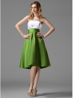 Empire Strapless Knee-Length Satin Bridesmaid Dress With Ruffle (007004122)